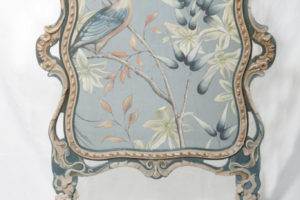 Handpainted silk chinoiserie firescreen. Upcycled