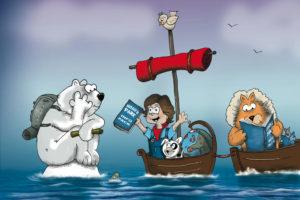 Noah talks the the polar bear close up